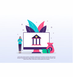 internet banking concept with tiny people can use vector image