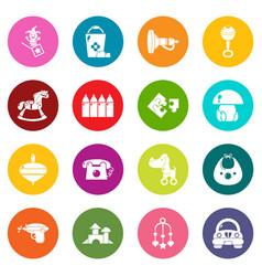 kindergarten icons set colorful circles vector image