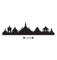 Laos landmarks skyline in silhouette vector