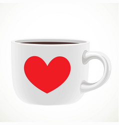 Large white ceramic cup with red heart draw of vector