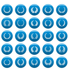 laurel wreath icons set vetor blue vector image