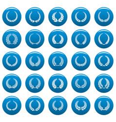 Laurel wreath icons set vetor blue vector