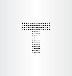 letter t black star halftone dots icon vector image