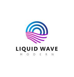 Liquid wave logo modern technology abstract design vector