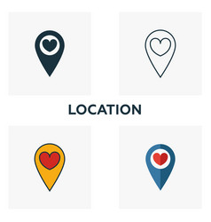 location icon set four elements in diferent vector image
