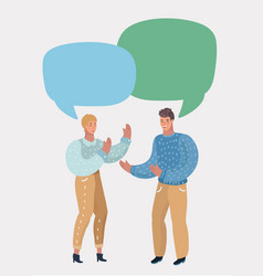 man and woman in dialogue blank speech bubbles vector image