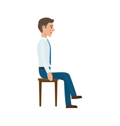 Man sitting on chair in suit side view isolated vector