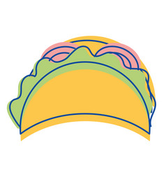 Mexican tacos fast food icon vector