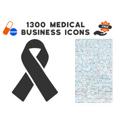 mourning ribbon icon with 1300 medical business vector image