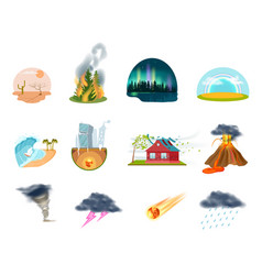 Natural disasters isolated icons set vector