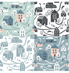 Northern town seamless pattern set for winter vector