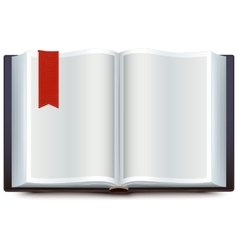Open book with red bookmark vector