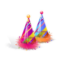 pair party hat set isolated with decorations on vector image