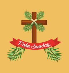 palm sunday cross branch ribbon celebration vector image