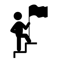 People Man with Flag on Stair Flat Icons Pictogram vector image