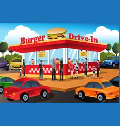 People ordering hamburger at a drive-in hamburger vector