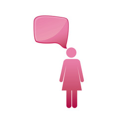 Pictogram pink female figure with square dialog vector