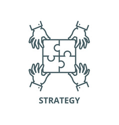 puzzle piecesstrategy line icon linear vector image