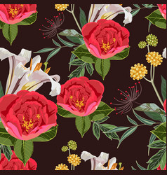 seamless pattern with red peony lilies flowers vector image