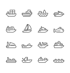 Set line icons of water transport vector