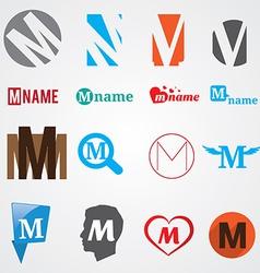 Set of alphabet symbols of letter M vector image