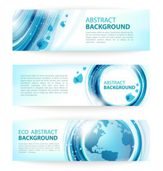 Set of blue abstract eco banners vector