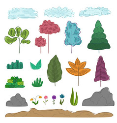 Set of colorful outline abstract trees grass vector