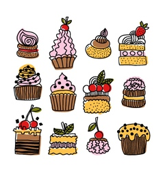 Set of hand drawn doodle cakes desserts vector