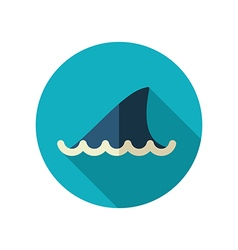 Shark fin flat icon summer vacation vector
