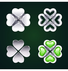 Silver Four-leaf Clovers Set2 vector