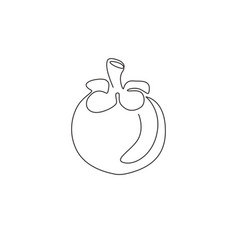 Single continuous line drawing whole round vector