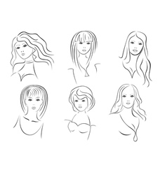 Six beautiful young women portraits vector image