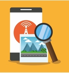 Smartphone with lupe and seo design vector image