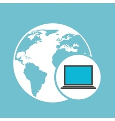social media laptop global map vector image