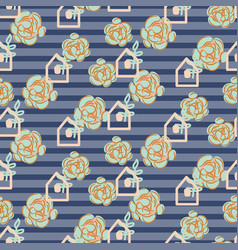Striped succulent floral seamless pattern vector
