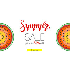 summer sale banner with half past of watermelons vector image