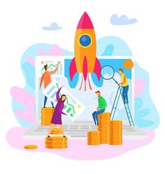 teamwork cartoon people explore perspective growth vector image
