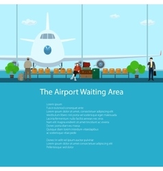 The Airport Waiting Area with People vector
