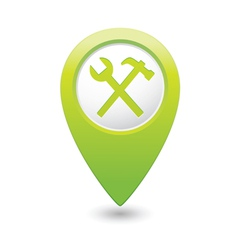 Tools icon green map pointer vector