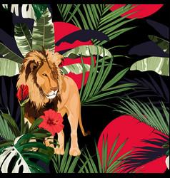 Tropical tree palm tree plant lion animal vector