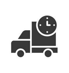 Truck and clock delivery or shipping icon solid vector