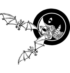 Two bats and Moon vector