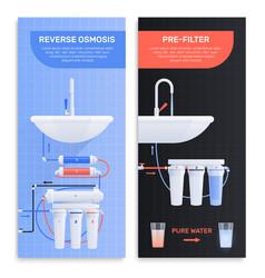 Water filter flat vertical banner set vector