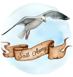 watercolor flying seagull with message scroll vector image