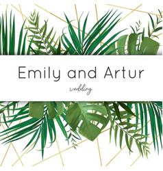 Wedding tropical invite save the date card design vector