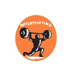 Weightlifter lifting weights oval woodcut vector