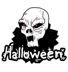 White skull halloween vector