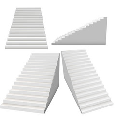 white stairs set 3d interior staircases isolated vector image