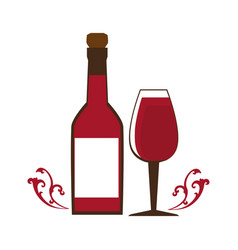 wine bottle with cork and glass cup vector image