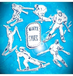 Winter sports skier scetch vector